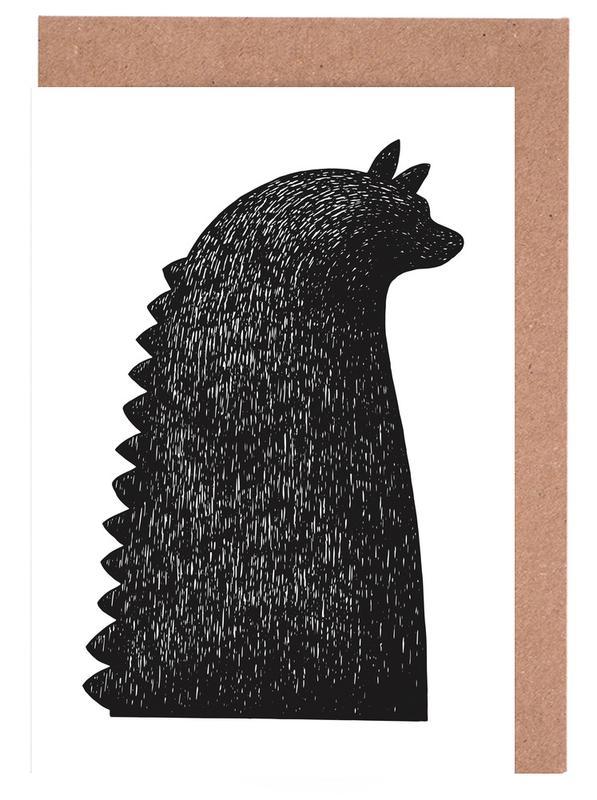 Dinosaurier, Kinderzimmer & Kunst für Kinder, Schwarz & Weiß, Saur -Grußkarten-Set