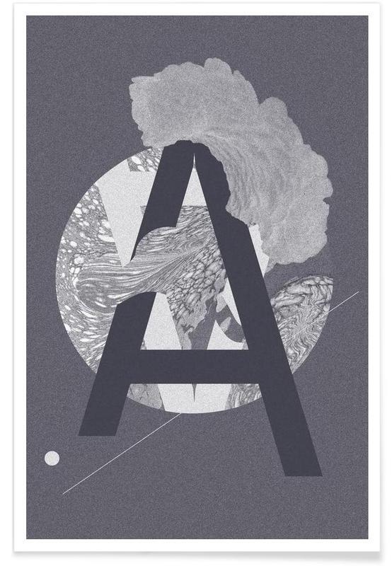 Alphabet et lettres, Grey-A affiche
