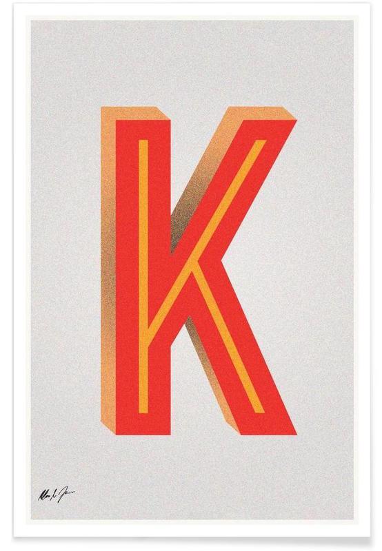 Alphabet et lettres, K affiche