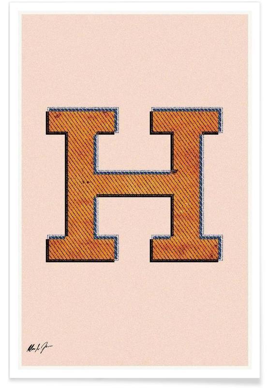 Alphabet et lettres, H affiche