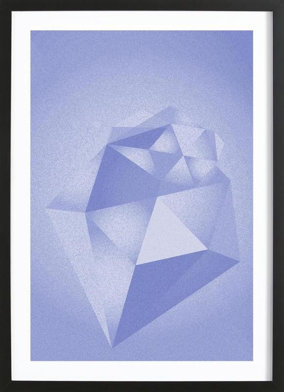 Crystals Blue -Bild mit Holzrahmen