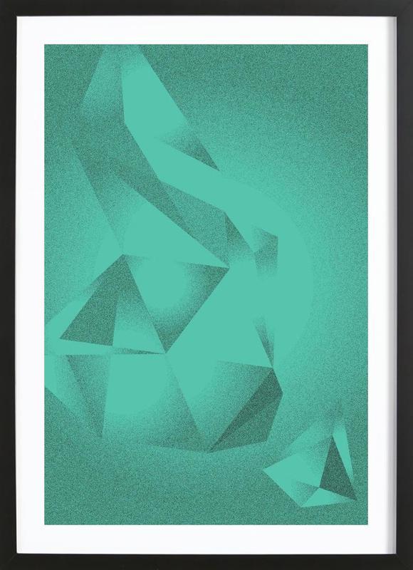 Crystals Green -Bild mit Holzrahmen
