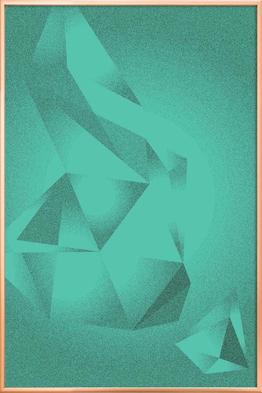 Crystals Green -Poster im Alurahmen