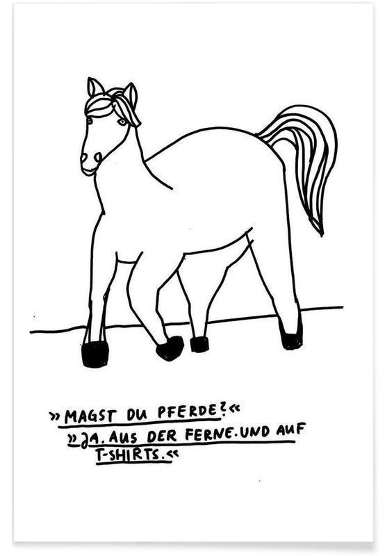 Humour, Chevaux, Noir & blanc, Citations et slogans, Pferde affiche