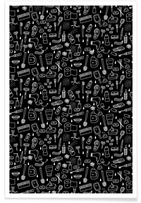 Patterns, Shower Pattern (black) Poster