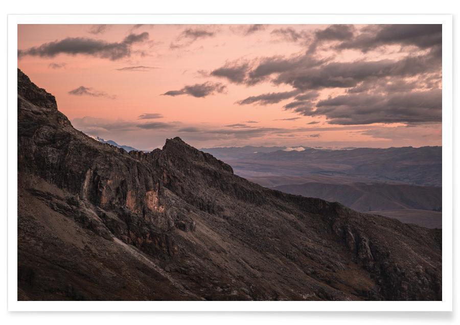 Berge, Sonnenuntergänge, Huaraz-Kolumbien-Fotografie -Poster