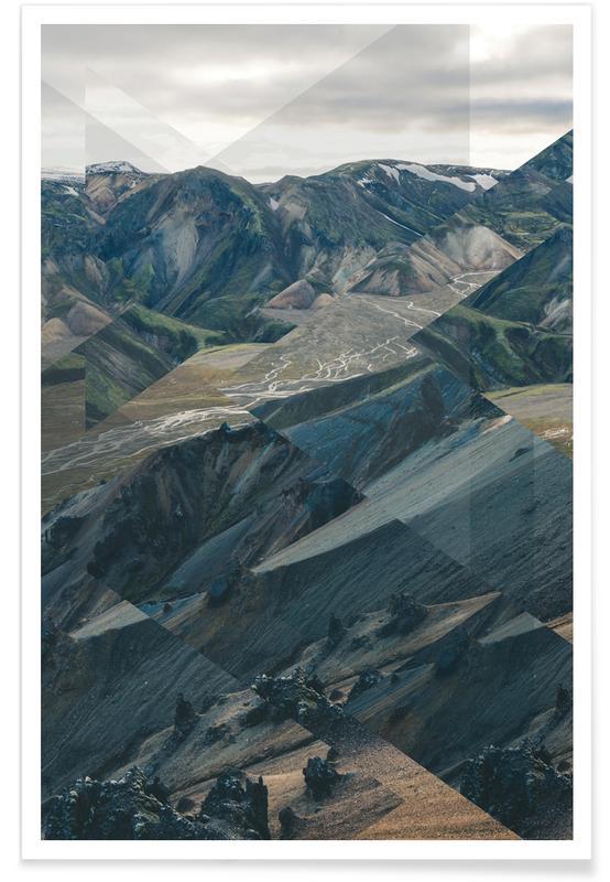 Bergen, Abstracte landschappen, Landmannalaugar - foto poster