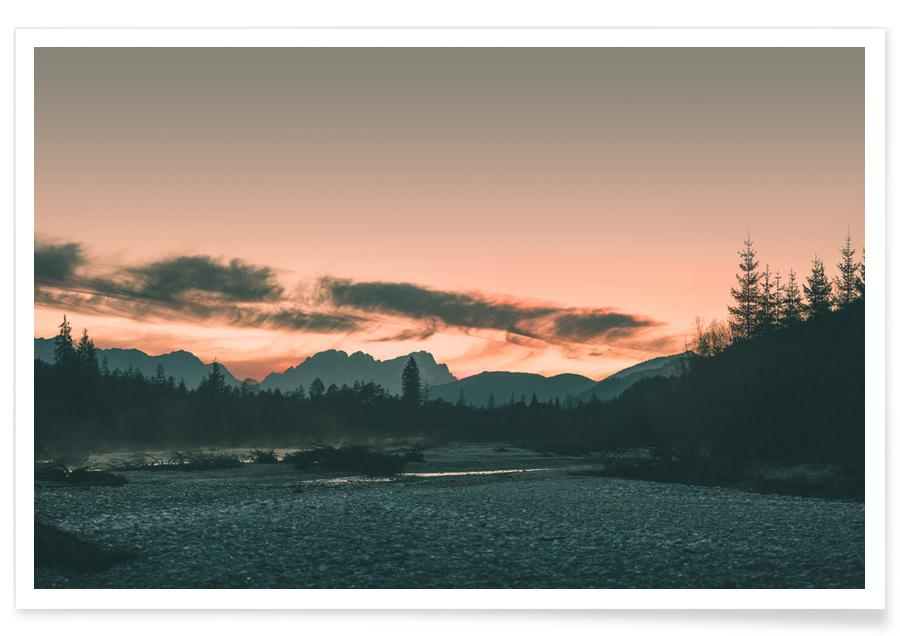 Berge, Reise, Sonnenuntergänge, Raw 11 Karwendel -Poster