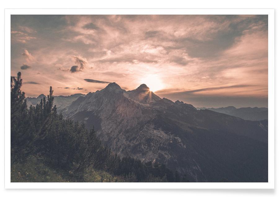 Montagnes, Voyages, Couchers de soleil, Raw 11 Schachen affiche
