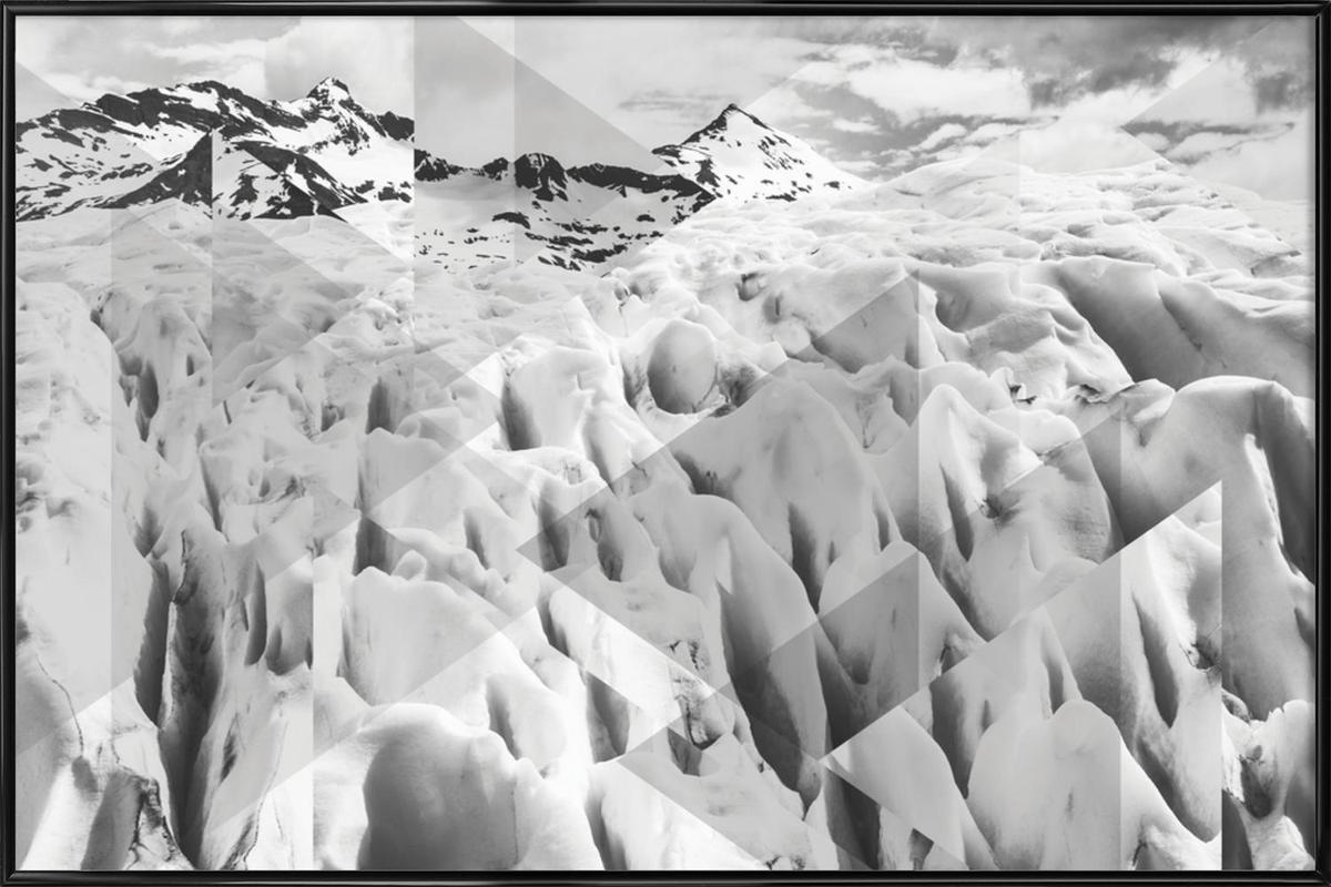 Scattered 2 Perito Moreno BW -Bild mit Kunststoffrahmen