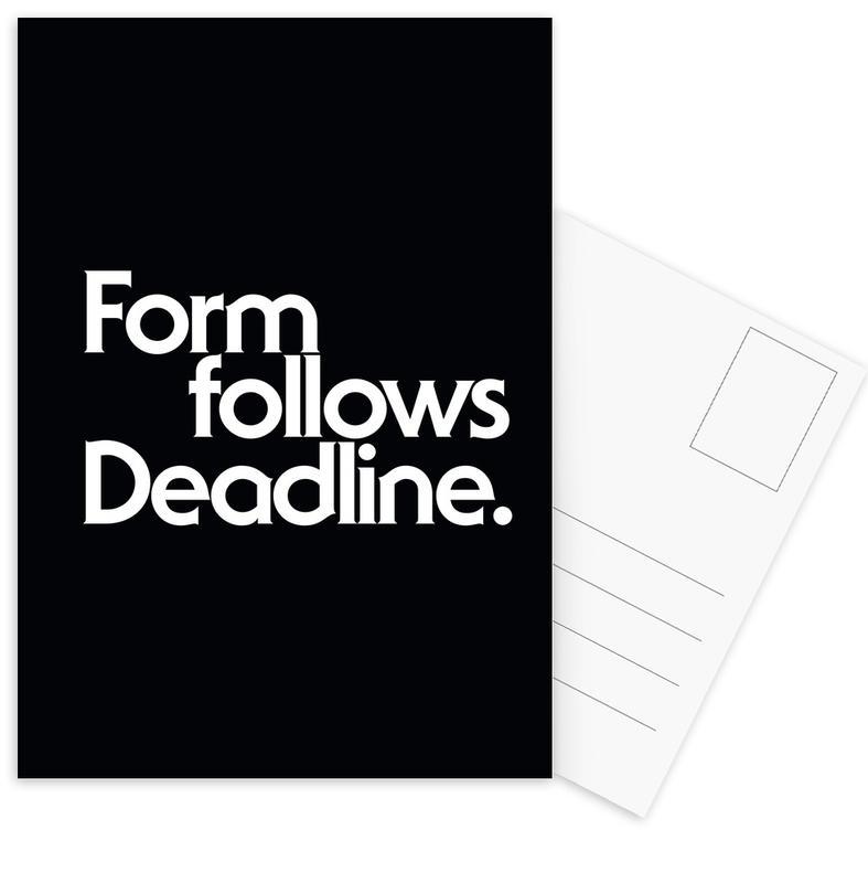 Black & White, Quotes & Slogans, Deadline Black Postcard Set