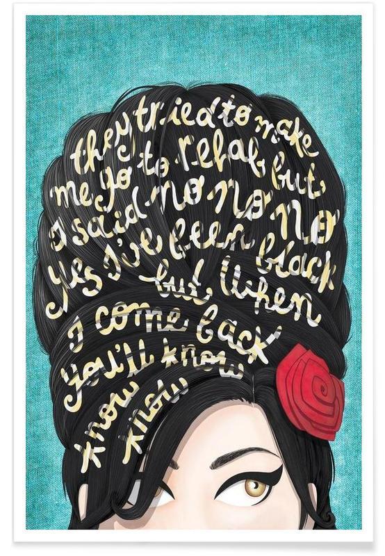 Lyrics, Amy Winehouse, Rehab Song Lyrics Poster