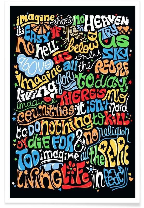 Lyrics, The Beatles, Imagine Song Lyrics Poster