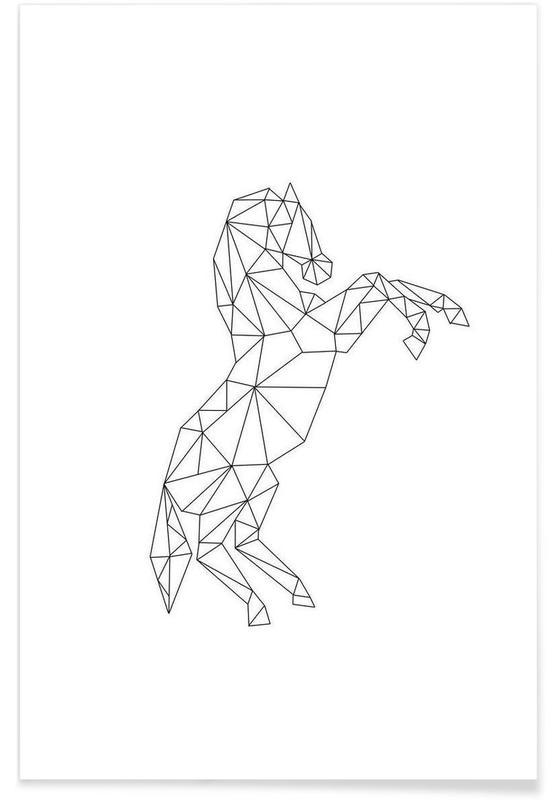 Noir & blanc, Chevaux, Geometric Horse affiche