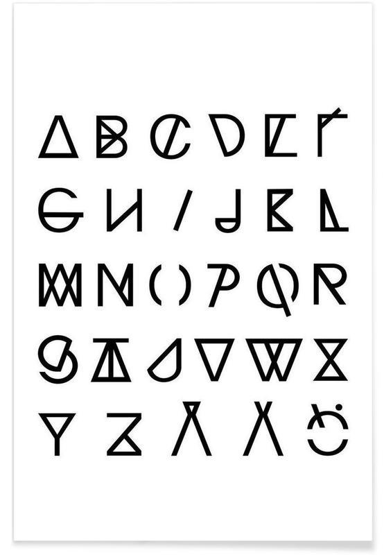 Alphabet et lettres, Noir & blanc, Graphic Alphabets affiche