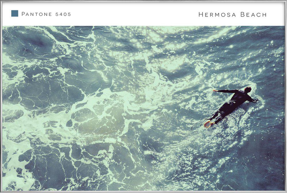 Hermosa Beach 5405 Poster in Aluminium Frame