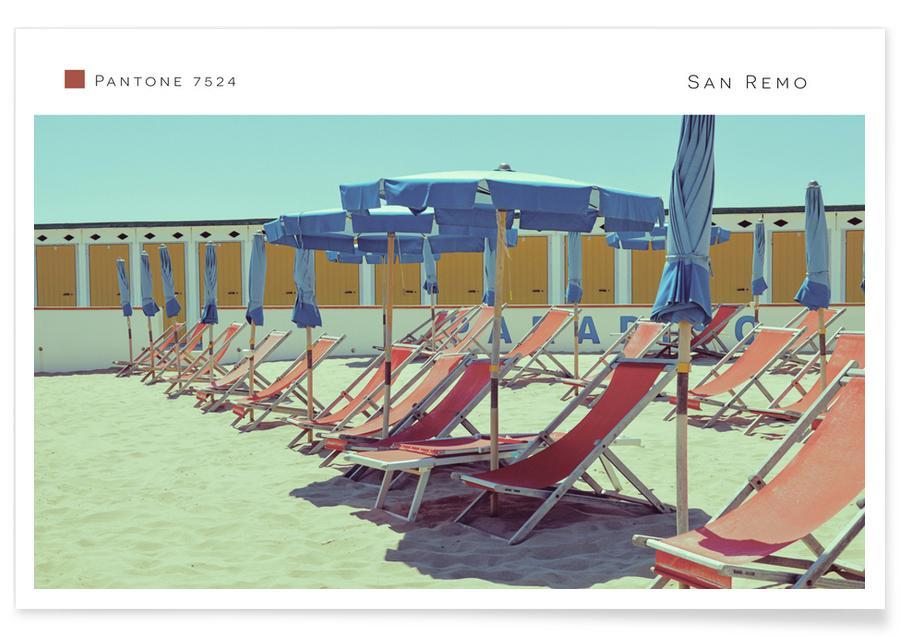 Reise, Retro, Strände, San Remo 7524 -Poster