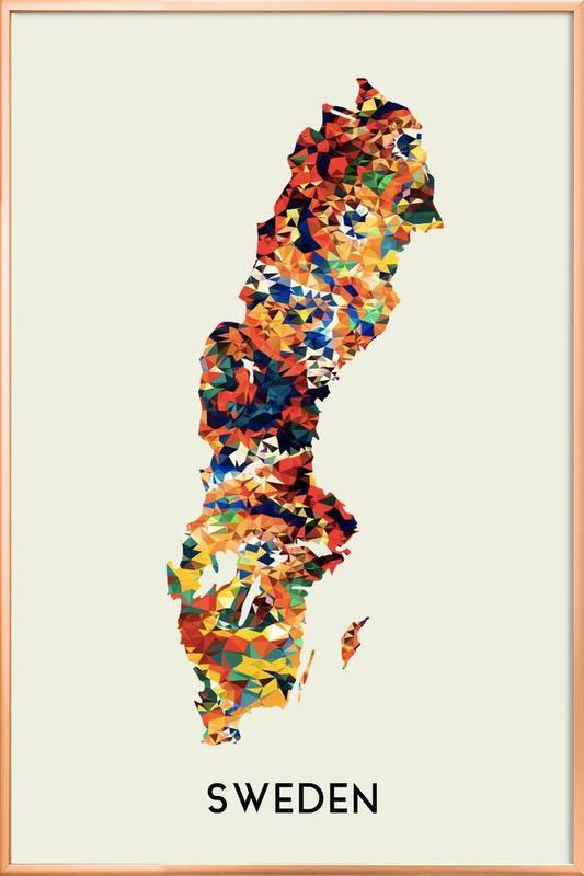 Sweden Poster in Aluminium Frame