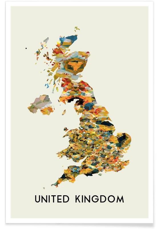 Cartes de pays, United Kingdom affiche