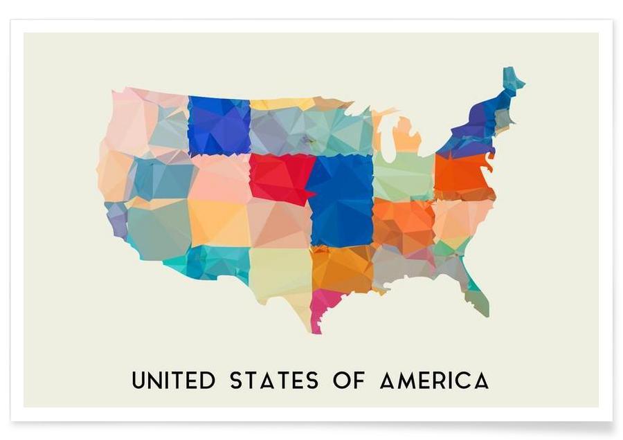 Cartes de pays, USA affiche