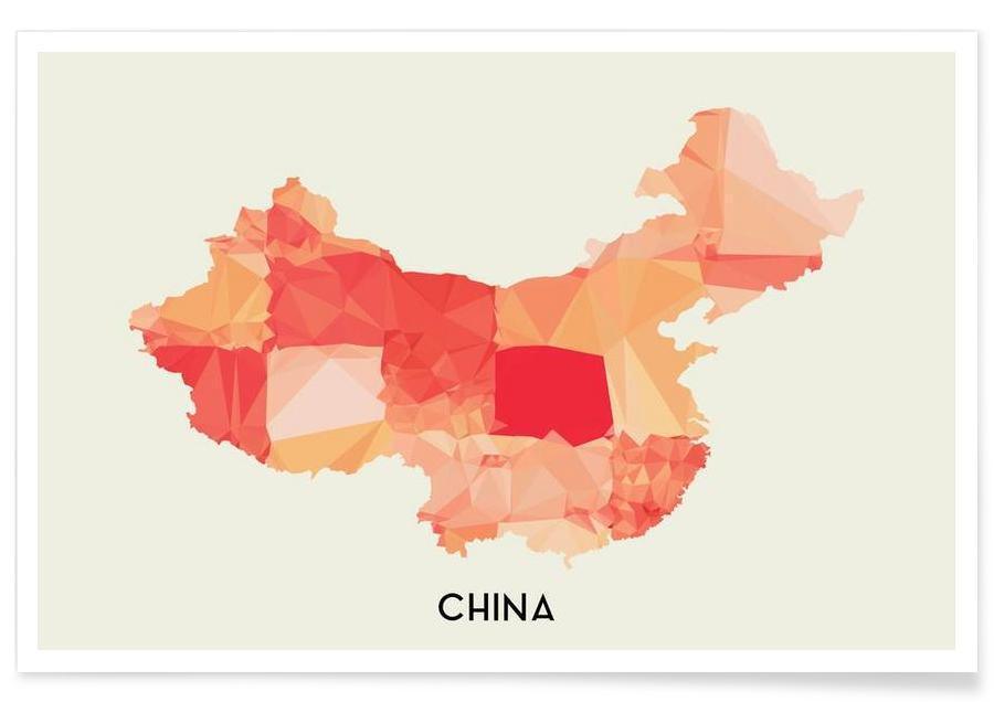 Landkaarten, China poster