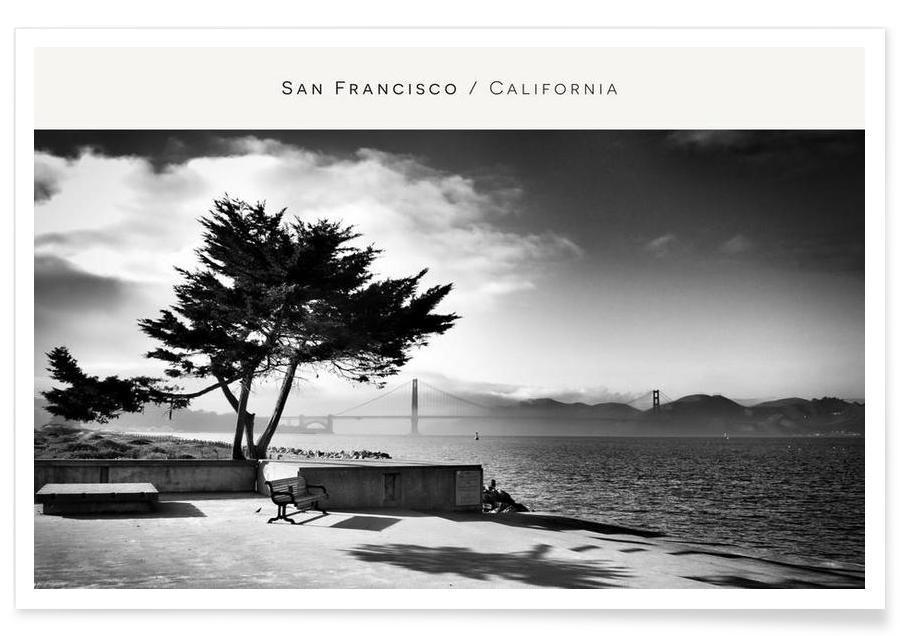 San Francisco, Plages, Voyages, San Fransisco B&W affiche
