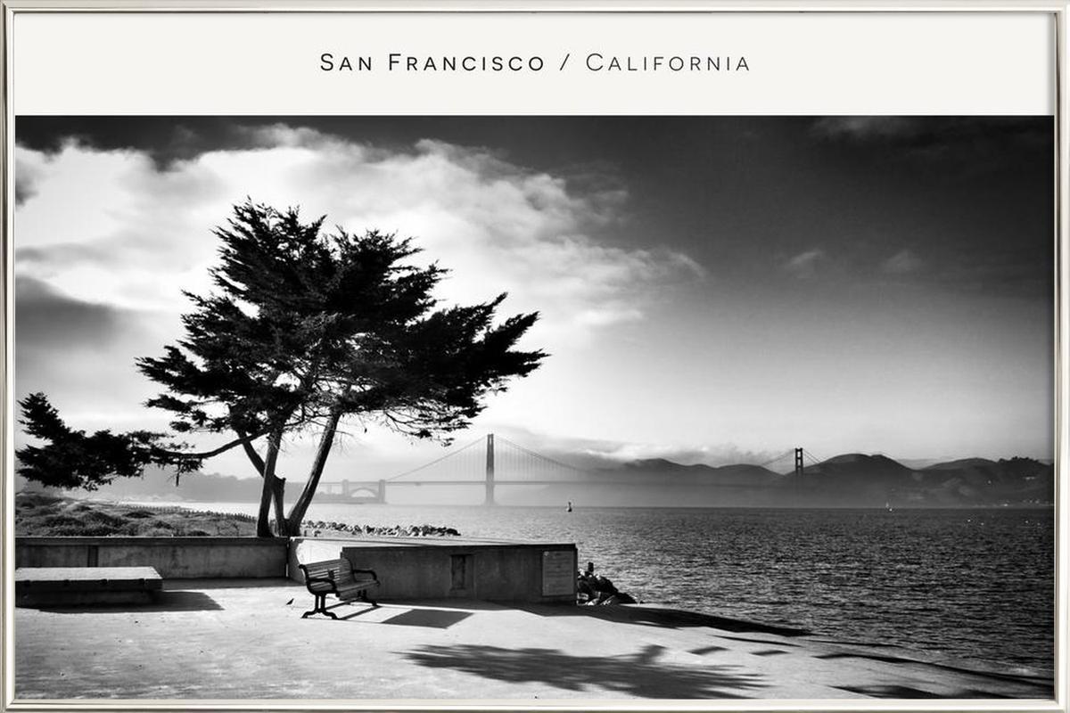 San Fransisco B&W -Poster im Alurahmen