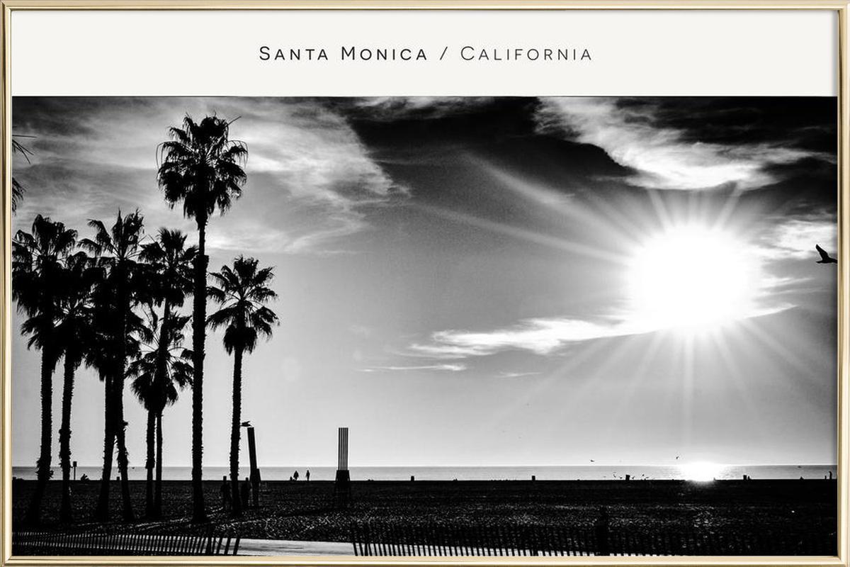 Santa Monica No. 1 B&W Poster in Aluminium Frame
