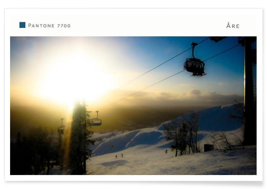 Couchers de soleil, Montagnes, Ski & snowboard, Åre Pantone 7700 affiche