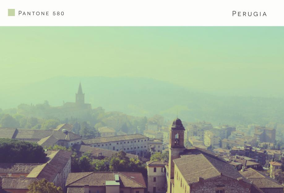 Perugia Pantone 580 Aluminium Print