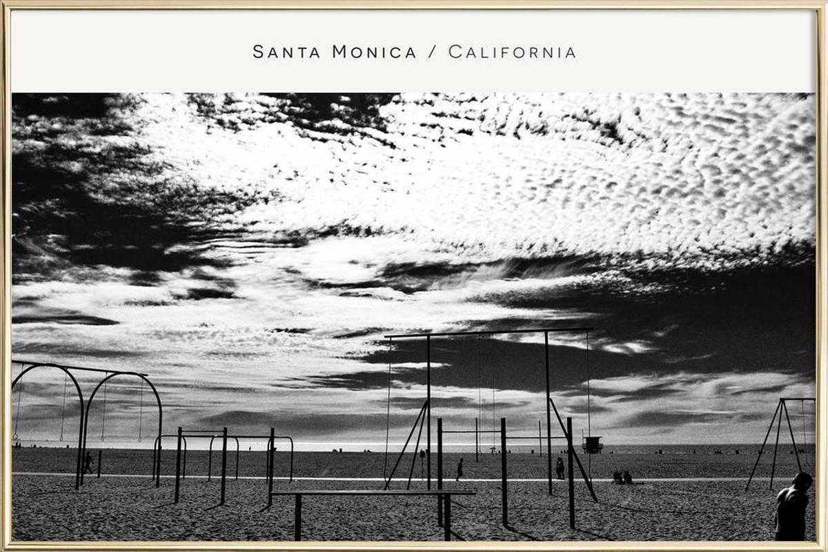 Santa Monica No. 2 B&W Poster in Aluminium Frame