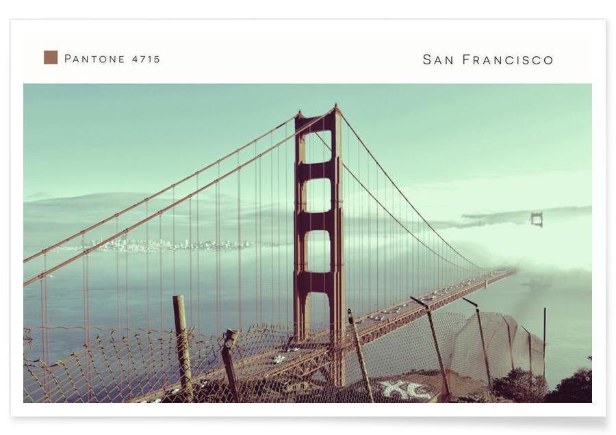 Ponts, San Francisco, Monuments et vues, San Francisco Pantone 4715 affiche