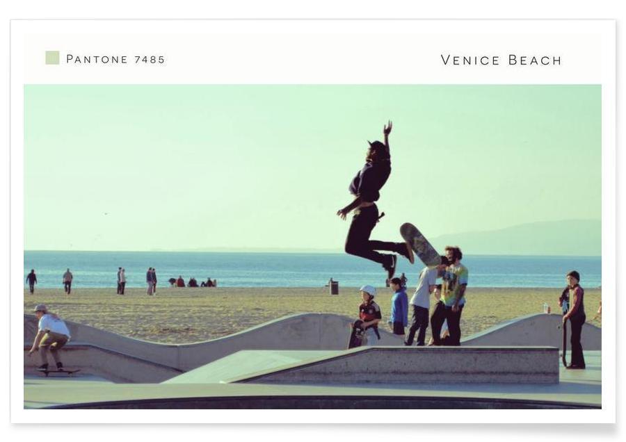 Skating, Venice Beach Pantone 7485 -Poster
