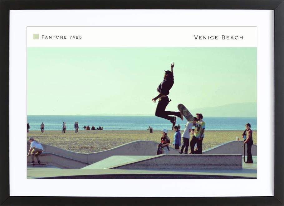 Venice Beach Pantone 7485 affiche sous cadre en bois