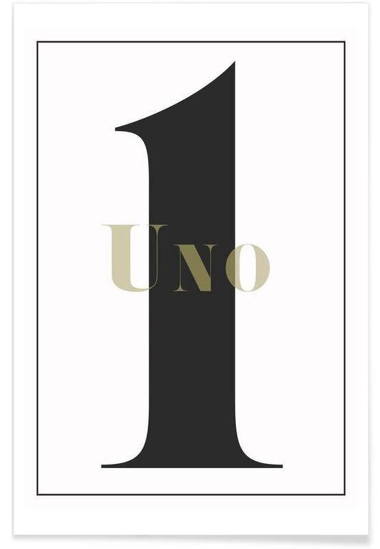 Zwart en wit, Cijfers, Numero 1 poster
