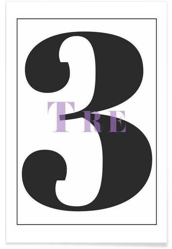 Svart & vit, Siffror, Numero 3 Poster