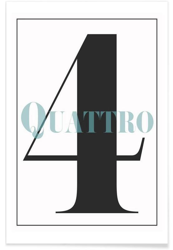 Zwart en wit, Cijfers, Numero 4 poster
