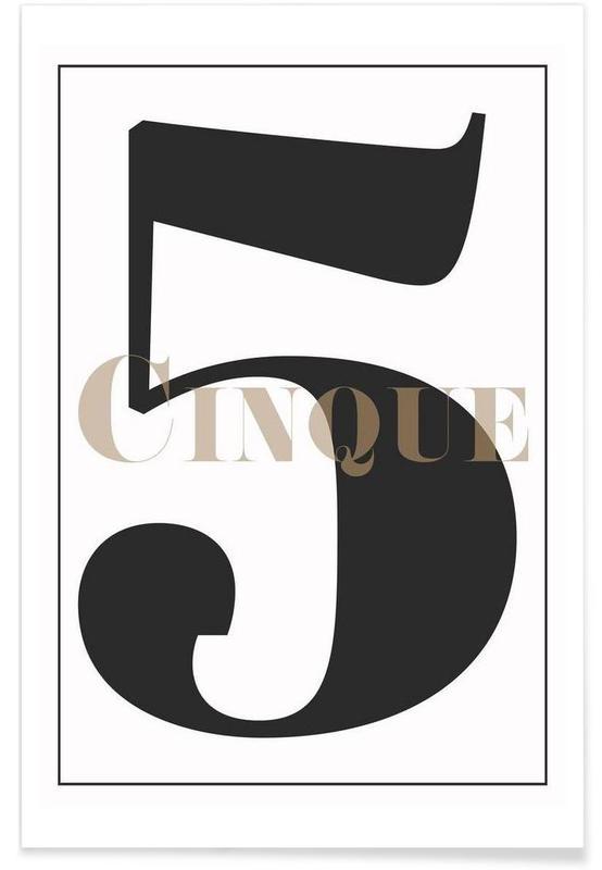 Svart & vit, Siffror, Numero 5 Poster