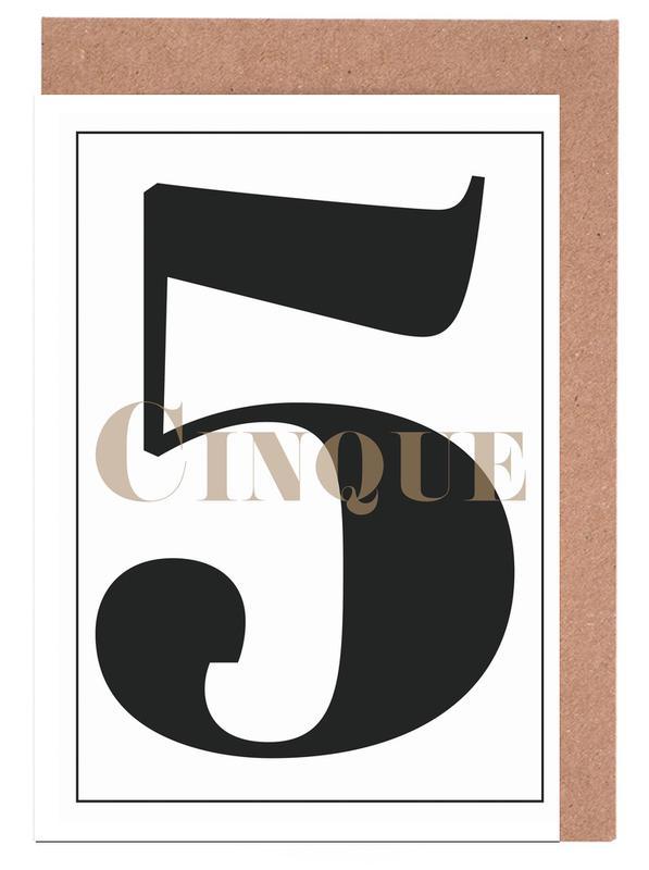 Black & White, Numbers, Numero 5 Greeting Card Set