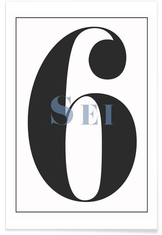 Svart & vit, Siffror, Numero 6 Poster