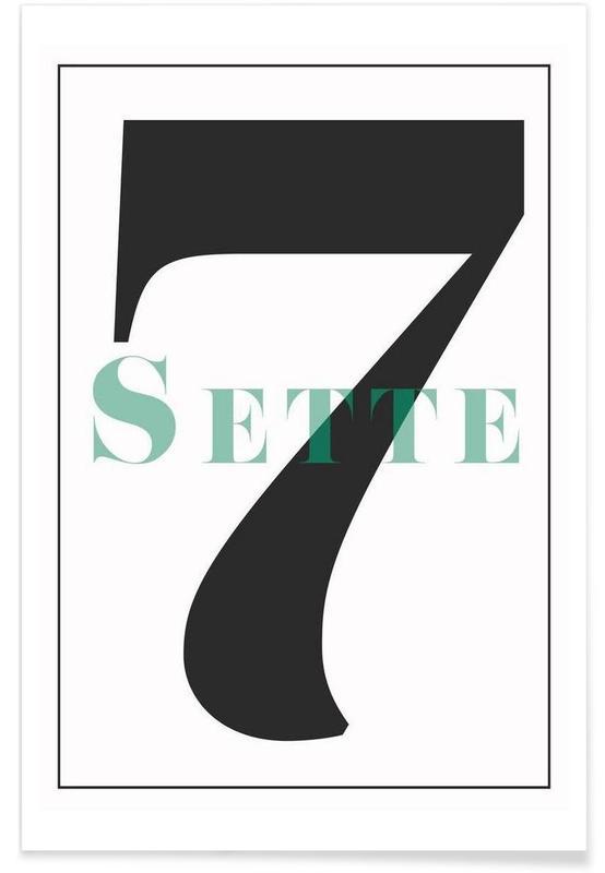 Zwart en wit, Cijfers, Numero 7 poster