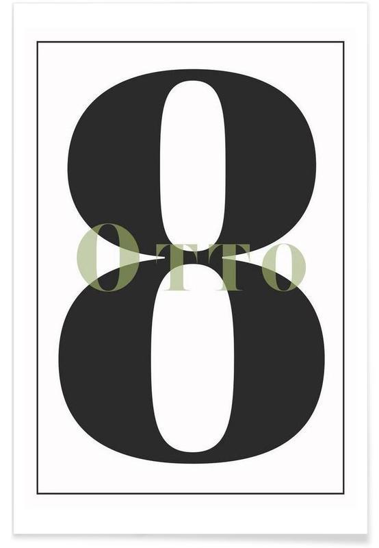 Zwart en wit, Cijfers, Numero 8 poster