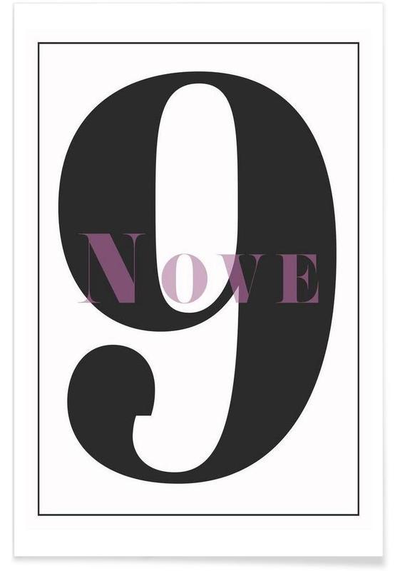 Zwart en wit, Cijfers, Numero 9 poster