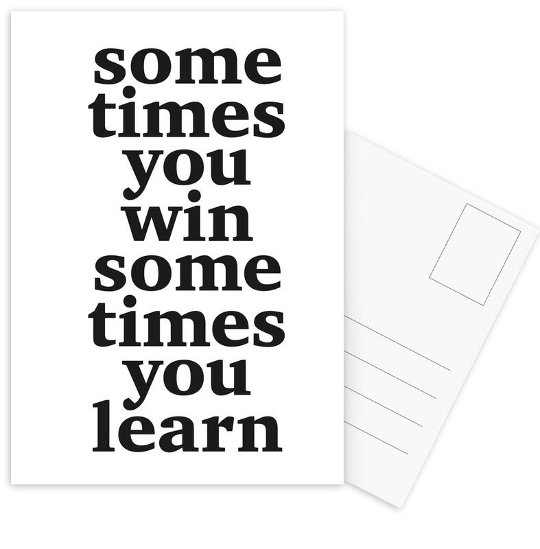 Black & White, Motivational, Quotes & Slogans, Sometimes you win Postcard Set