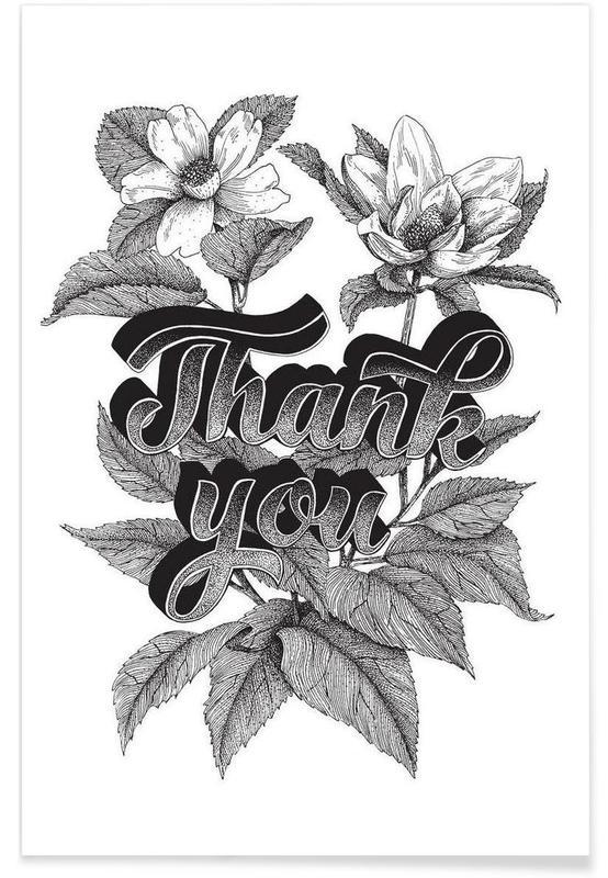 Noir & blanc, Citations et slogans, Thank you hand-lettering affiche