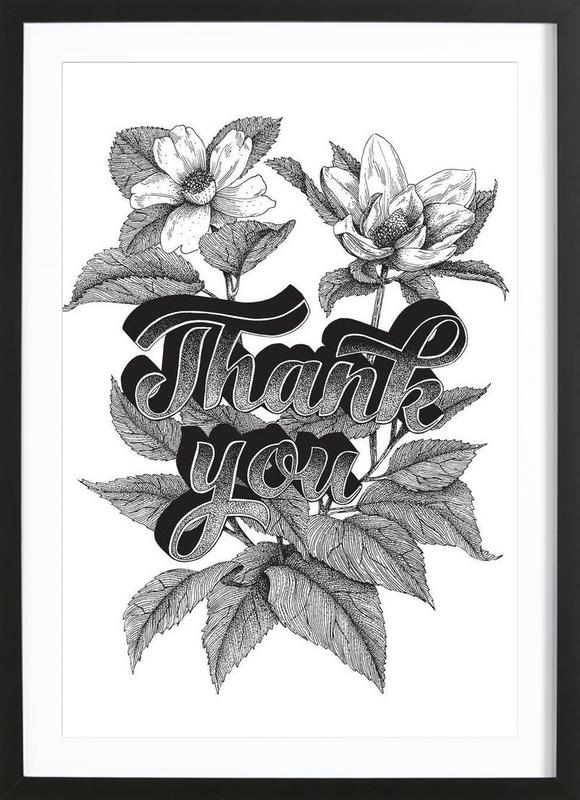 Thank you hand-lettering Framed Print
