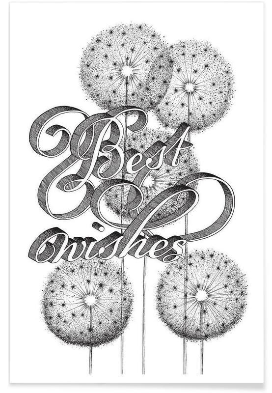 Noir & blanc, Citations et slogans, Best wishes hand-lettering affiche