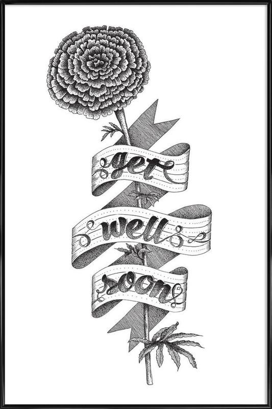 Get well soon hand-lettering Framed Poster