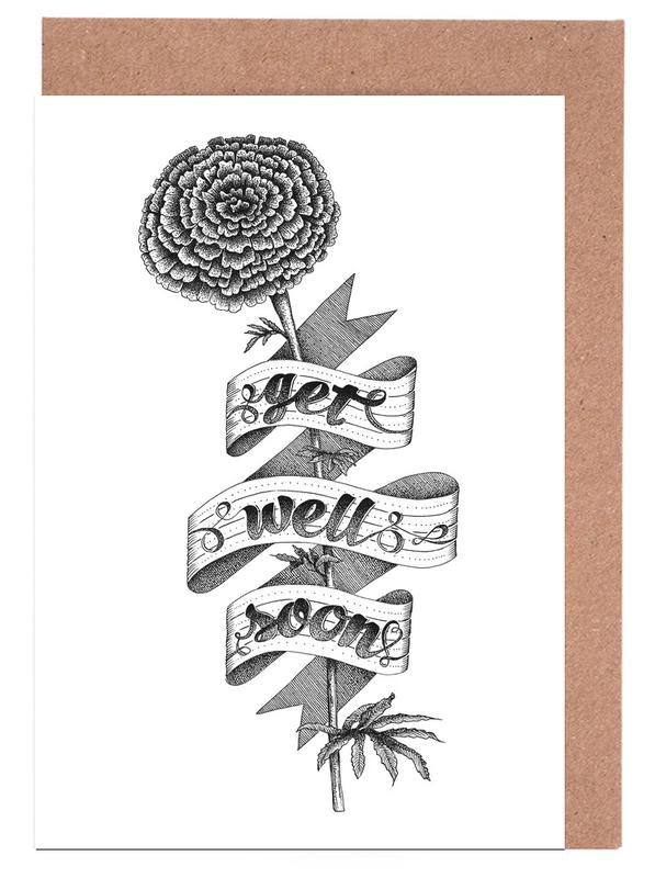 Get well soon hand-lettering Greeting Card Set