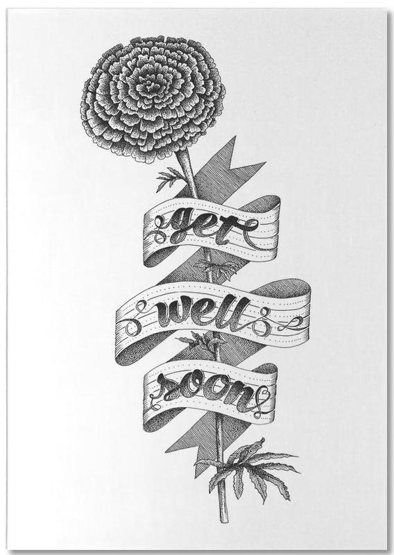 Get well soon hand-lettering -Notizblock